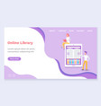 people using online library for learning vector image vector image