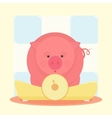 Piglet standing on the scales vector image