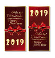 red vertical banner set for new year 2019 vector image