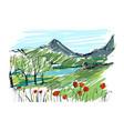 remarkable georgian landscape sketch colorful vector image vector image