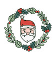 santa wreath holly berry decoration celebration vector image vector image
