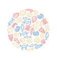 sea food thin line round design template vector image