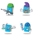 set of blue book character with army elf professor vector image vector image
