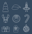Set of Christmas icons outline vector image vector image