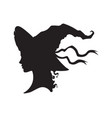 silhouette beautiful curly witch in pointy hat vector image