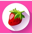 Strawberry icon with long shadow vector image vector image