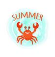 summer crab oceanic underwater cartoon animal vector image vector image