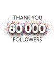 thank you 80000 followers poster with colorful vector image
