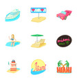 tourism in miami icons set cartoon style vector image vector image