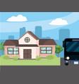 urban house cartoon vector image vector image