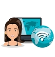 woman smartphone wifi online isolated vector image vector image