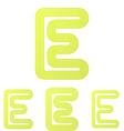 Yellow letter e logo design set vector image vector image