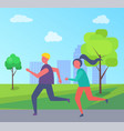 young runners jogging in park buildings and trees vector image vector image