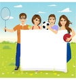 young students with different sports equipment vector image