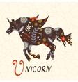 Beautiful floral unicorn horse vector image