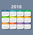 calendar 2018 year design template in vector image