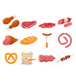 meat flour and bread flat icons set vector image