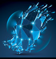 3d clear blue digital wireframe object broken vector image vector image