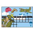 Army parachute cartoon vector image vector image
