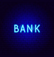 bank neon text vector image vector image