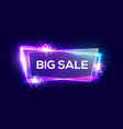 big sale on neon background with glass plate vector image vector image