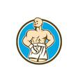 Boxer Champion Shouting Circle Retro vector image