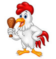 cartoon rooster holding fried chicken vector image vector image