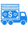 Cash Lorry Grainy Texture Icon vector image vector image