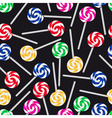 colorful sweet lollipops seamless dark pattern vector image vector image