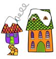 coloured houses vector image