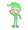 comic cartoon waving christmas elf vector image