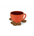 cup of coffee red and coffee beans isolate 3d vector image