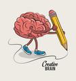 cute and funny brain cartoon vector image