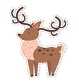 cute reindeer cartoon flat sticker or icon vector image vector image