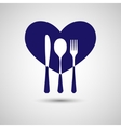 Cutlery with heart vector image vector image
