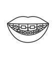 dental braces linear icon vector image vector image