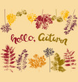 design autumn banner postcard print with ink vector image vector image