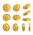 eth ethereum gold coins set isolated on white vector image