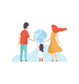 family holding big earth globe mother father and vector image vector image