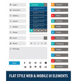 Flat style web mobile UI elements vector image