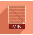 Flat web icon with long shadow falling graph vector image vector image