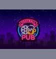 football pub neon sign design pattern sport bar vector image