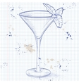 Grasshopper alcoholic cocktail on a notebook page vector image vector image
