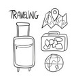 hand drawn set of travel doodles vector image vector image