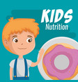 happy boy with nutrition food vector image vector image