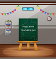happy teachers day with green chalkboard on classr vector image vector image