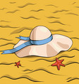 hat and sand vector image vector image