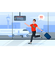 late for plane cartoon busy man tourist character vector image