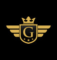 letter g shield wing vector image vector image