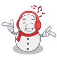 listening music snowman character cartoon style vector image